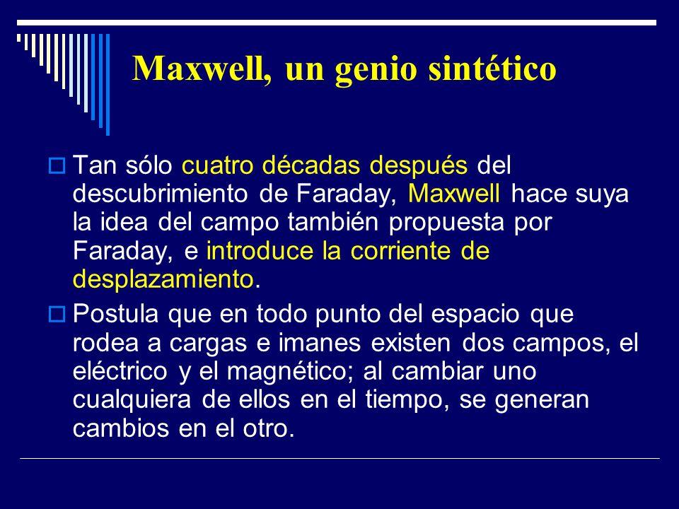 Maxwell, un genio sintético Tan sólo cuatro décadas después del descubrimiento de Faraday, Maxwell hace suya la idea del campo también propuesta por F