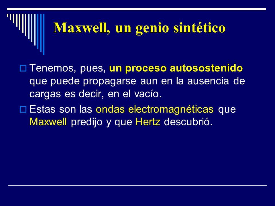 Maxwell, un genio sintético Tenemos, pues, un proceso autosostenido que puede propagarse aun en la ausencia de cargas es decir, en el vacío. Estas son