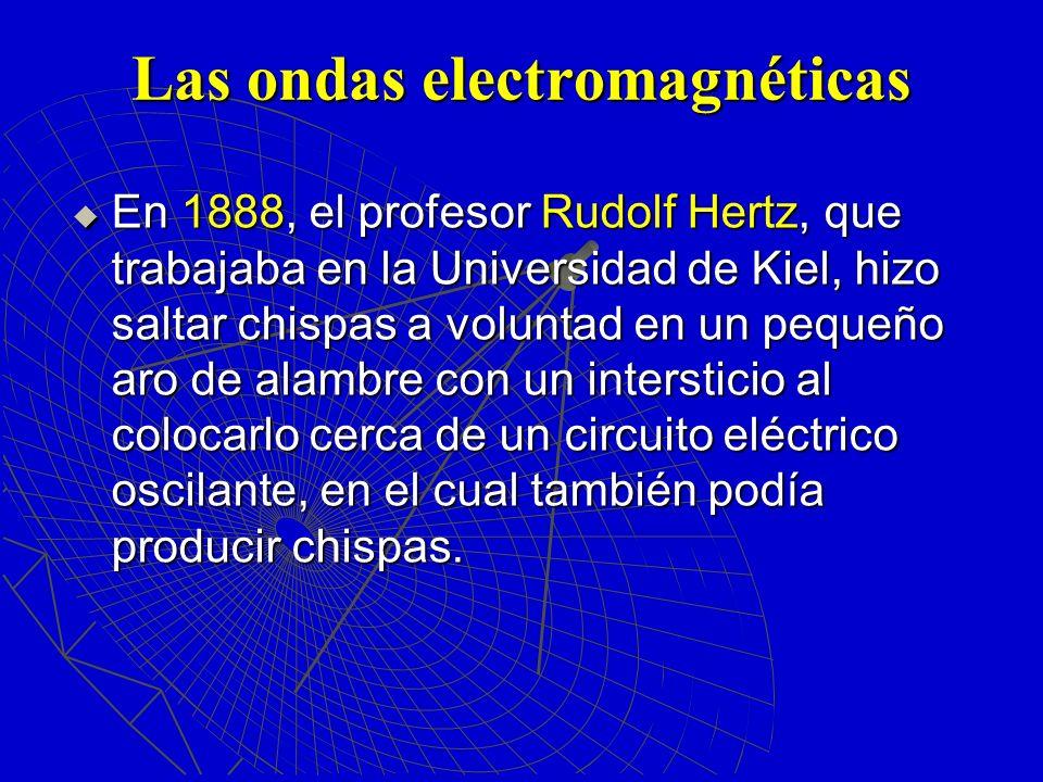 Las ondas electromagnéticas En 1888, el profesor Rudolf Hertz, que trabajaba en la Universidad de Kiel, hizo saltar chispas a voluntad en un pequeño a