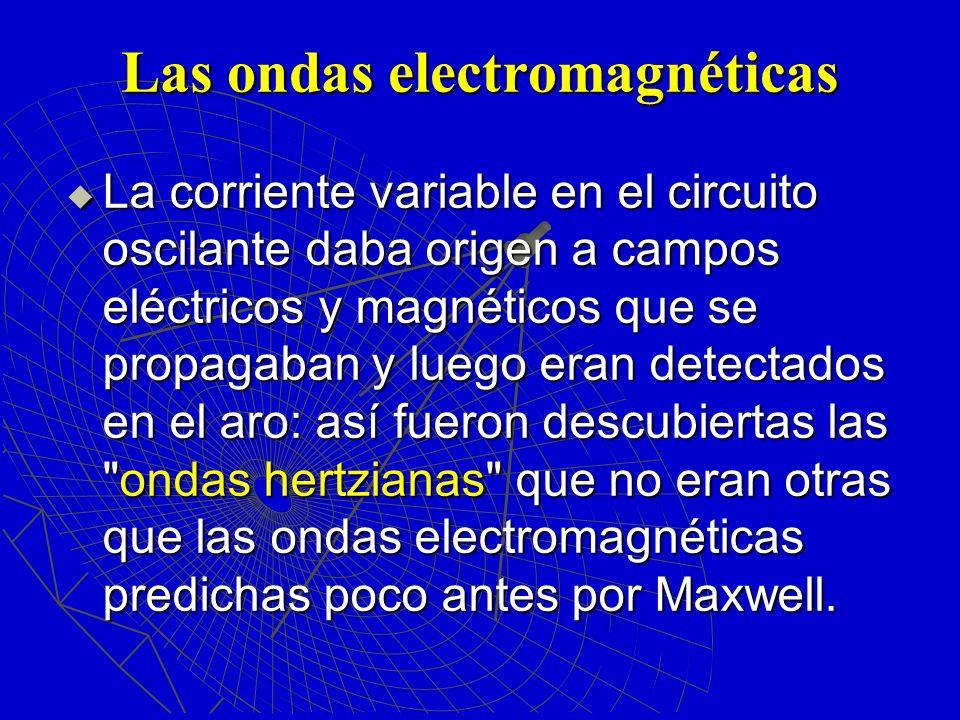 Las ondas electromagnéticas La corriente variable en el circuito oscilante daba origen a campos eléctricos y magnéticos que se propagaban y luego eran