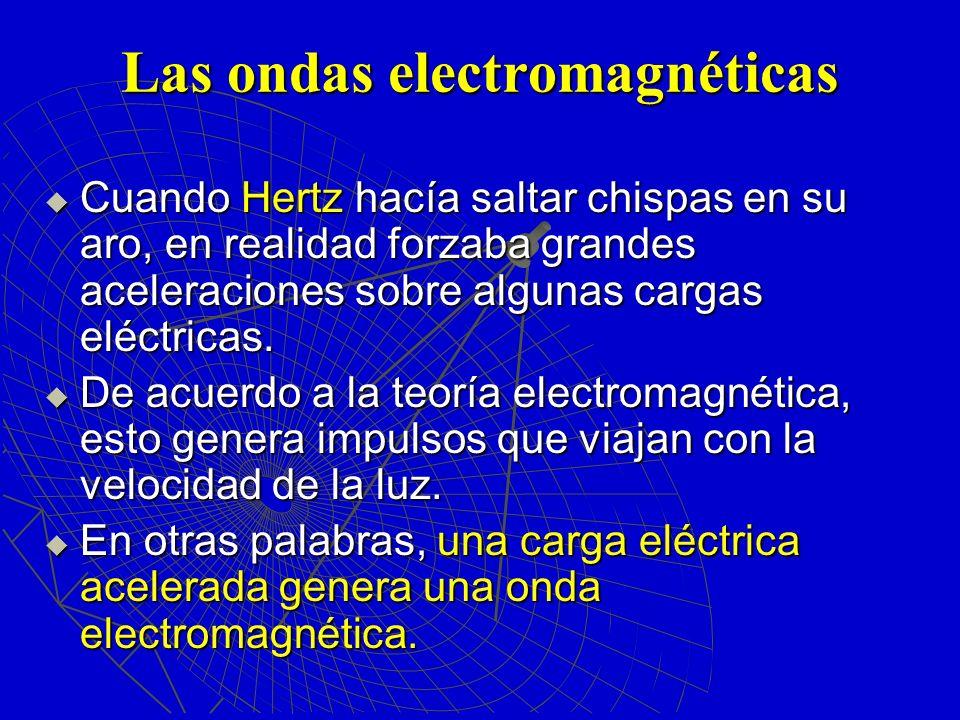Las ondas electromagnéticas Cuando Hertz hacía saltar chispas en su aro, en realidad forzaba grandes aceleraciones sobre algunas cargas eléctricas. Cu