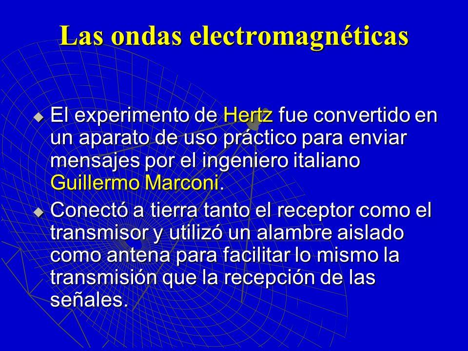 Las ondas electromagnéticas El experimento de Hertz fue convertido en un aparato de uso práctico para enviar mensajes por el ingeniero italiano Guille