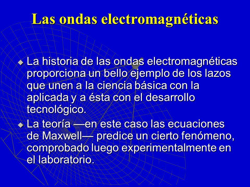 Las ondas electromagnéticas La historia de las ondas electromagnéticas proporciona un bello ejemplo de los lazos que unen a la ciencia básica con la a