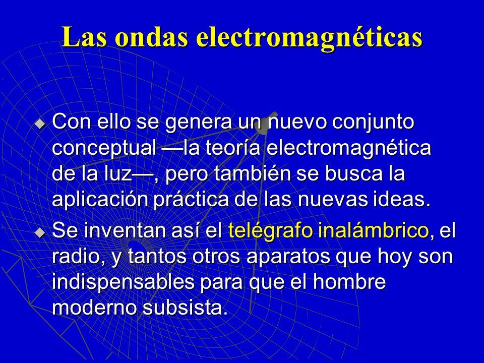 Las ondas electromagnéticas Con ello se genera un nuevo conjunto conceptual la teoría electromagnética de la luz, pero también se busca la aplicación