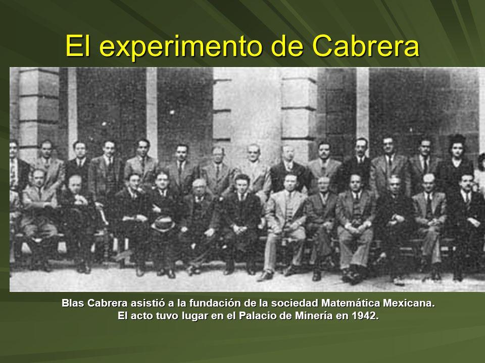 El experimento de Cabrera Blas Cabrera asistió a la fundación de la sociedad Matemática Mexicana. El acto tuvo lugar en el Palacio de Minería en 1942.