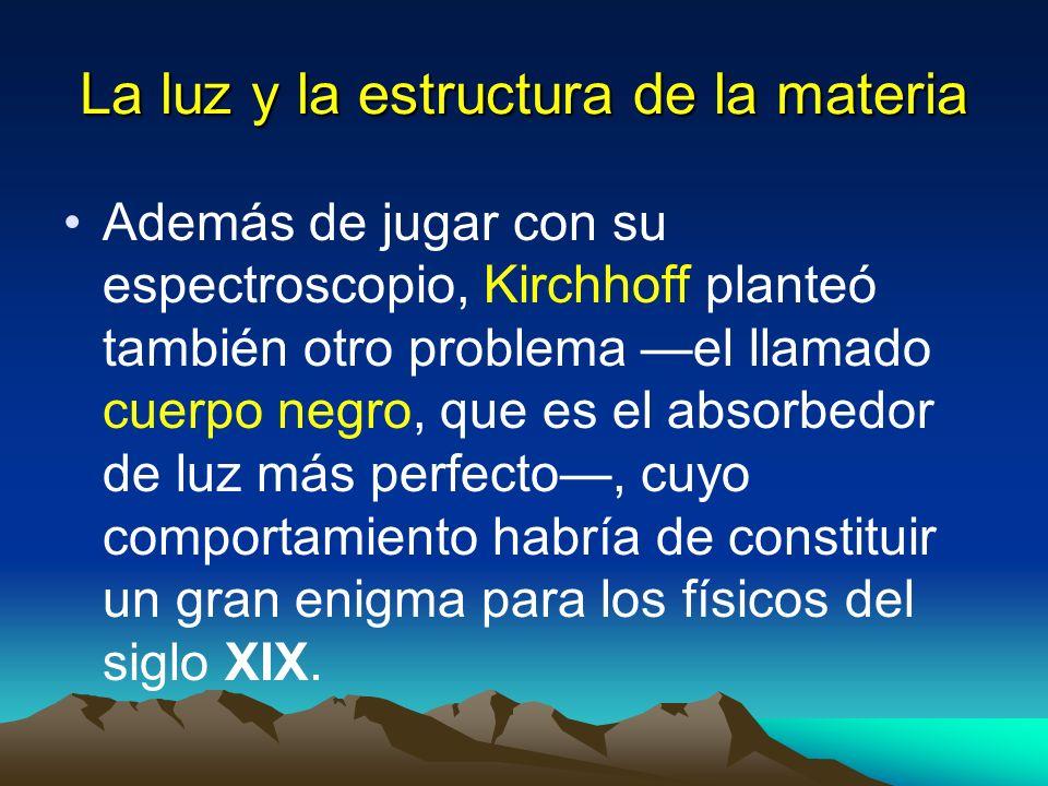 La luz y la estructura de la materia Además de jugar con su espectroscopio, Kirchhoff planteó también otro problema el llamado cuerpo negro, que es el