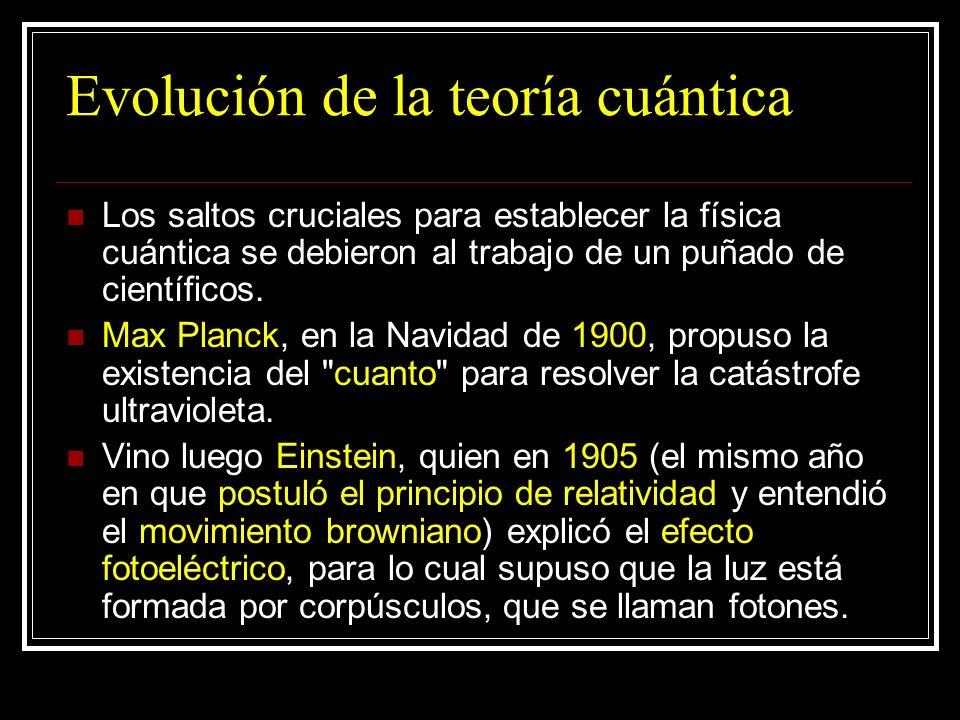 Evolución de la teoría cuántica Los saltos cruciales para establecer la física cuántica se debieron al trabajo de un puñado de científicos. Max Planck