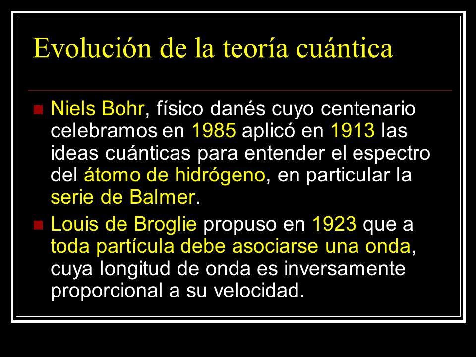 Evolución de la teoría cuántica Niels Bohr, físico danés cuyo centenario celebramos en 1985 aplicó en 1913 las ideas cuánticas para entender el espect