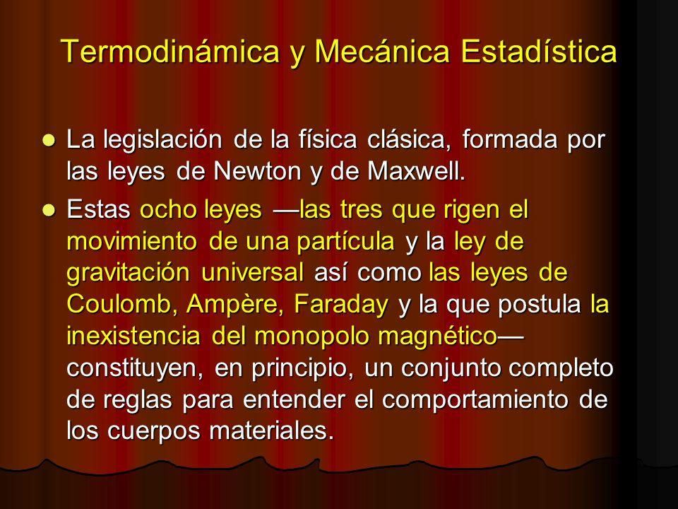 Termodinámica y Mecánica Estadística La legislación de la física clásica, formada por las leyes de Newton y de Maxwell. La legislación de la física cl