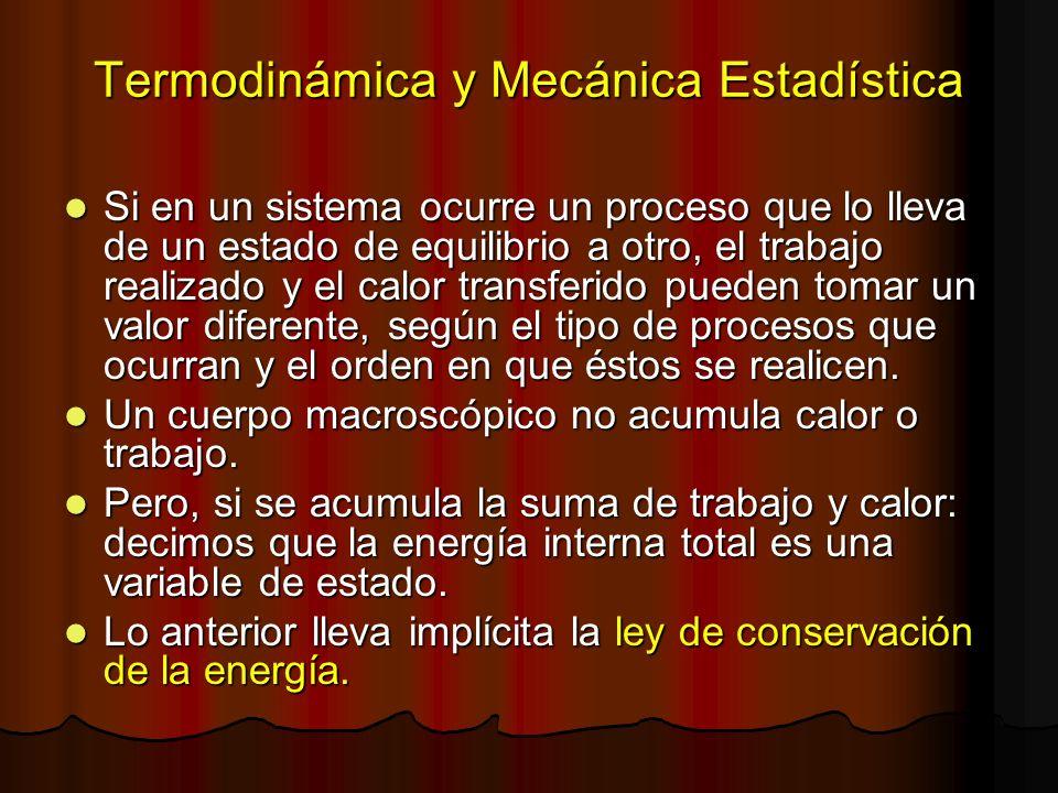 Termodinámica y Mecánica Estadística Si en un sistema ocurre un proceso que lo lleva de un estado de equilibrio a otro, el trabajo realizado y el calo