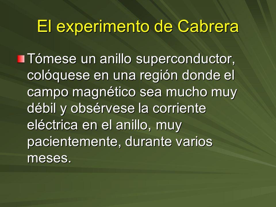 El experimento de Cabrera Tómese un anillo superconductor, colóquese en una región donde el campo magnético sea mucho muy débil y obsérvese la corrien
