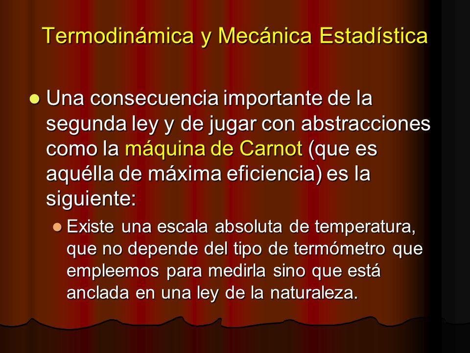 Termodinámica y Mecánica Estadística Una consecuencia importante de la segunda ley y de jugar con abstracciones como la máquina de Carnot (que es aqué