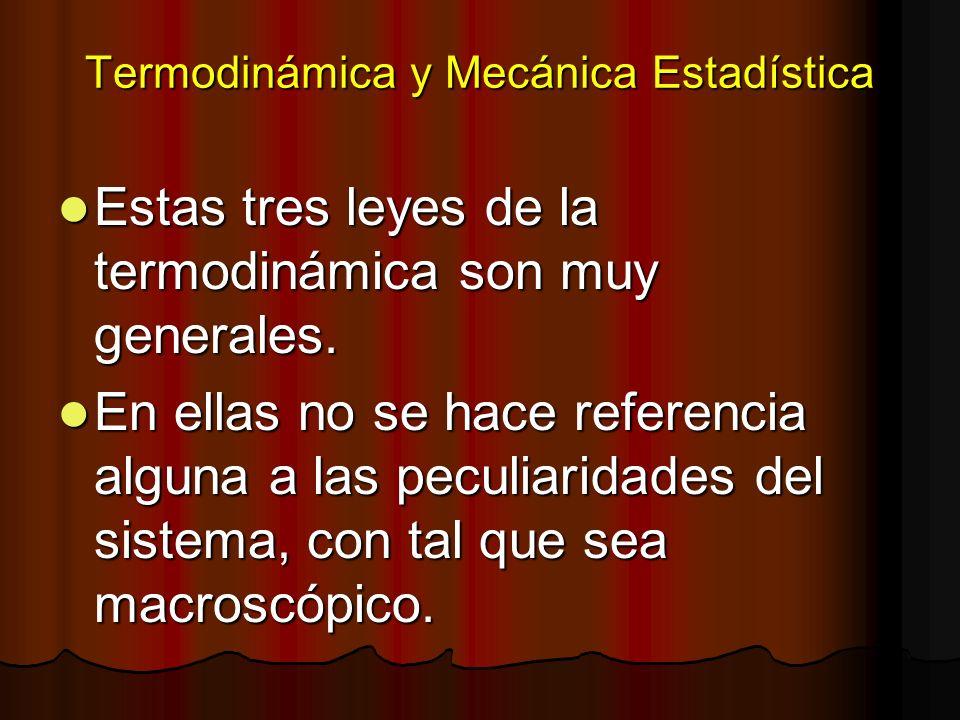 Termodinámica y Mecánica Estadística Estas tres leyes de la termodinámica son muy generales. Estas tres leyes de la termodinámica son muy generales. E