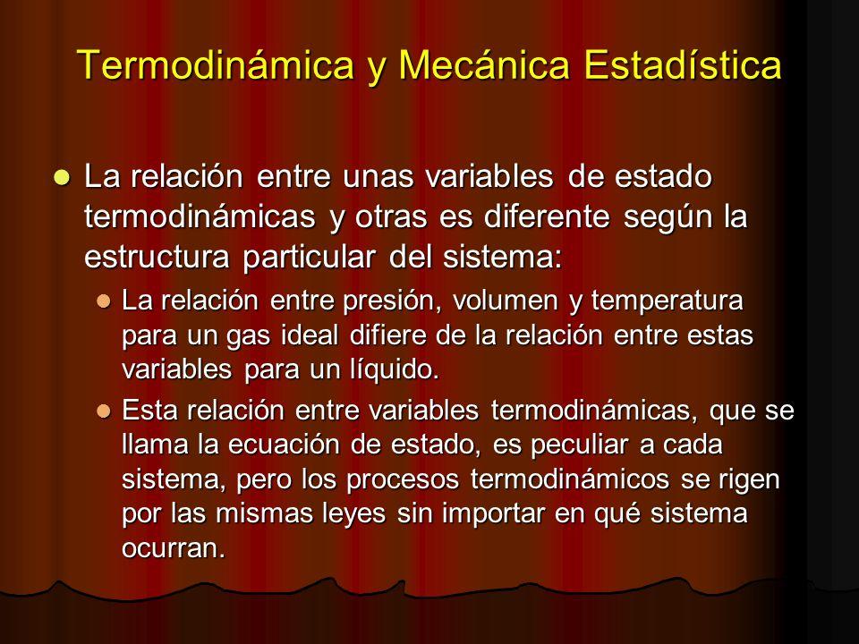 Termodinámica y Mecánica Estadística La relación entre unas variables de estado termodinámicas y otras es diferente según la estructura particular del