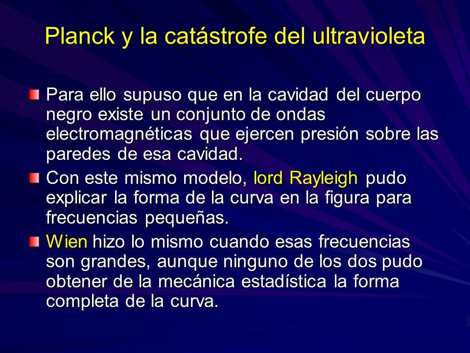 Planck y la catástrofe del ultravioleta Para ello supuso que en la cavidad del cuerpo negro existe un conjunto de ondas electromagnéticas que ejercen