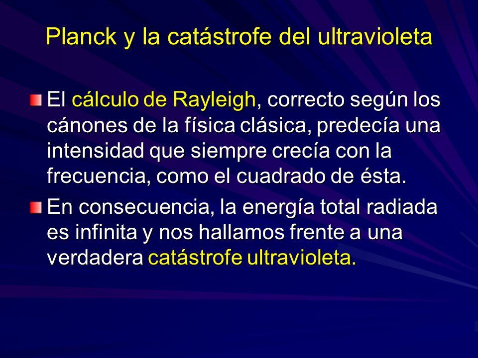 Planck y la catástrofe del ultravioleta El cálculo de Rayleigh, correcto según los cánones de la física clásica, predecía una intensidad que siempre c