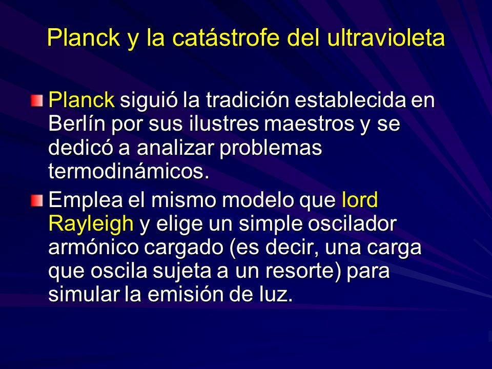 Planck y la catástrofe del ultravioleta Planck siguió la tradición establecida en Berlín por sus ilustres maestros y se dedicó a analizar problemas te