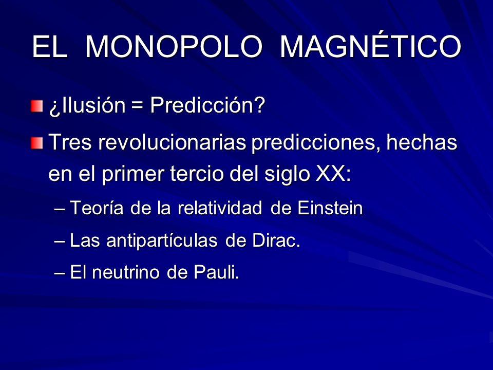 EL MONOPOLO MAGNÉTICO ¿Ilusión = Predicción? Tres revolucionarias predicciones, hechas en el primer tercio del siglo XX: –Teoría de la relatividad de
