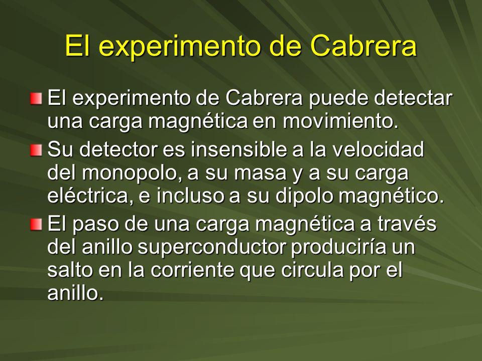 El experimento de Cabrera El experimento de Cabrera puede detectar una carga magnética en movimiento. Su detector es insensible a la velocidad del mon