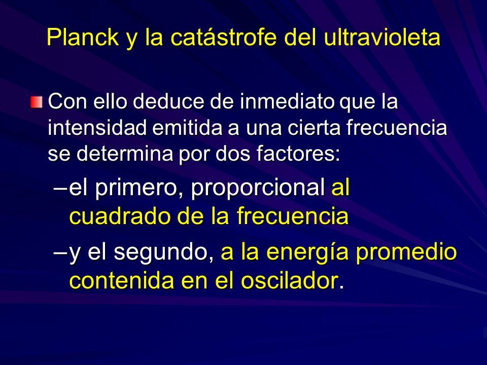 Planck y la catástrofe del ultravioleta Con ello deduce de inmediato que la intensidad emitida a una cierta frecuencia se determina por dos factores: