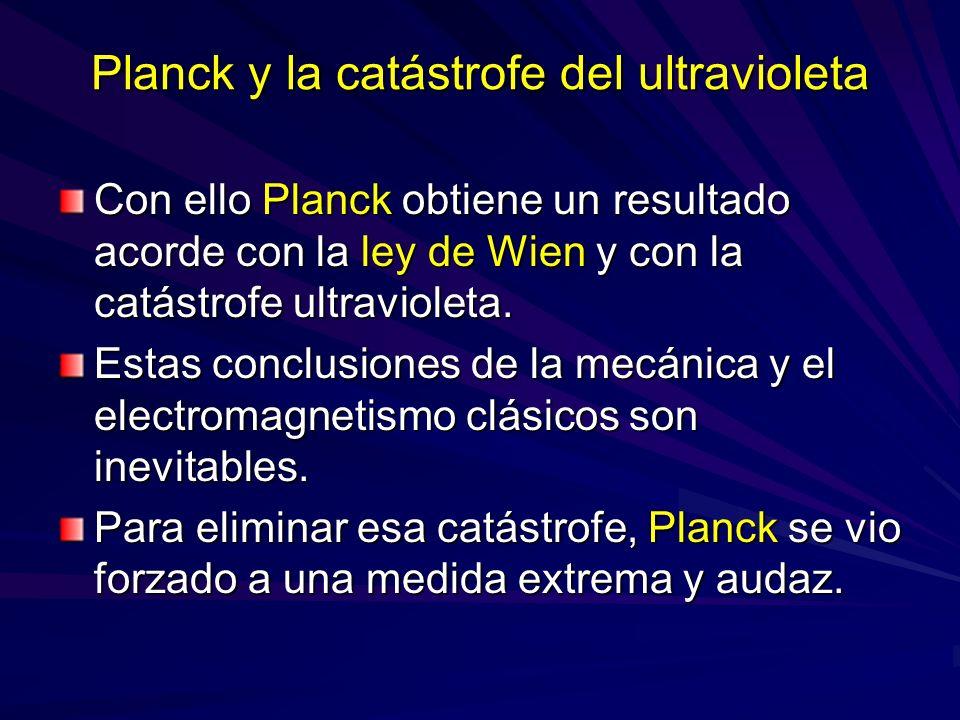Planck y la catástrofe del ultravioleta Con ello Planck obtiene un resultado acorde con la ley de Wien y con la catástrofe ultravioleta. Estas conclus