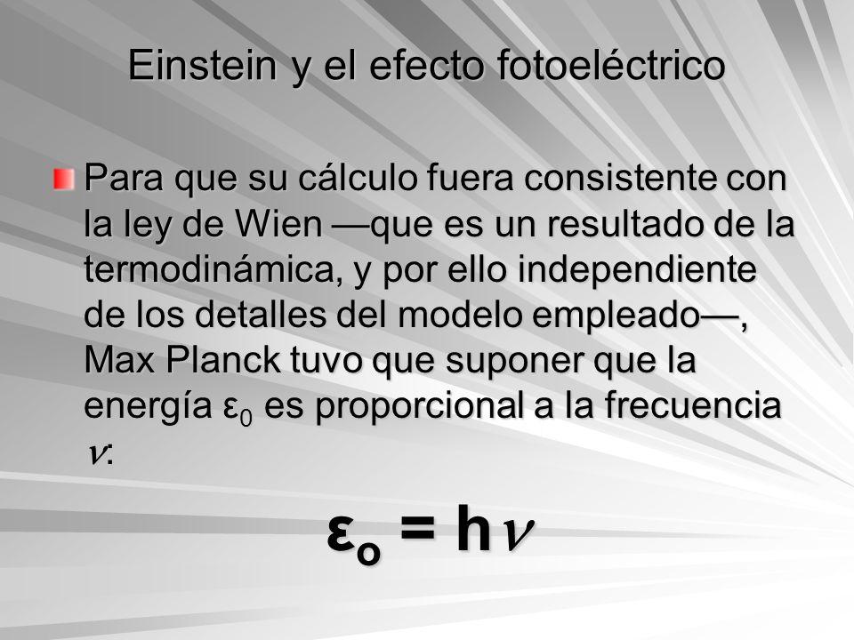 Einstein y el efecto fotoeléctrico Para que su cálculo fuera consistente con la ley de Wien que es un resultado de la termodinámica, y por ello indepe