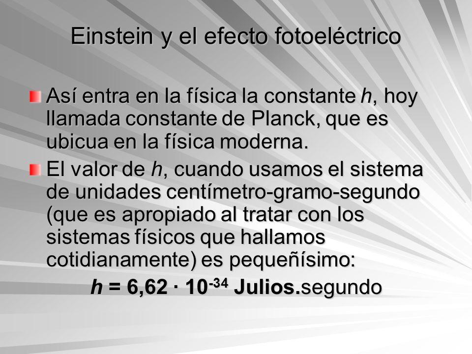 Einstein y el efecto fotoeléctrico Así entra en la física la constante h, hoy llamada constante de Planck, que es ubicua en la física moderna. El valo