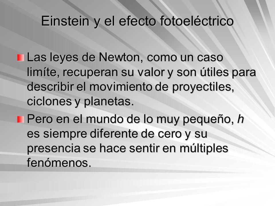 Einstein y el efecto fotoeléctrico Las leyes de Newton, como un caso limíte, recuperan su valor y son útiles para describir el movimiento de proyectil