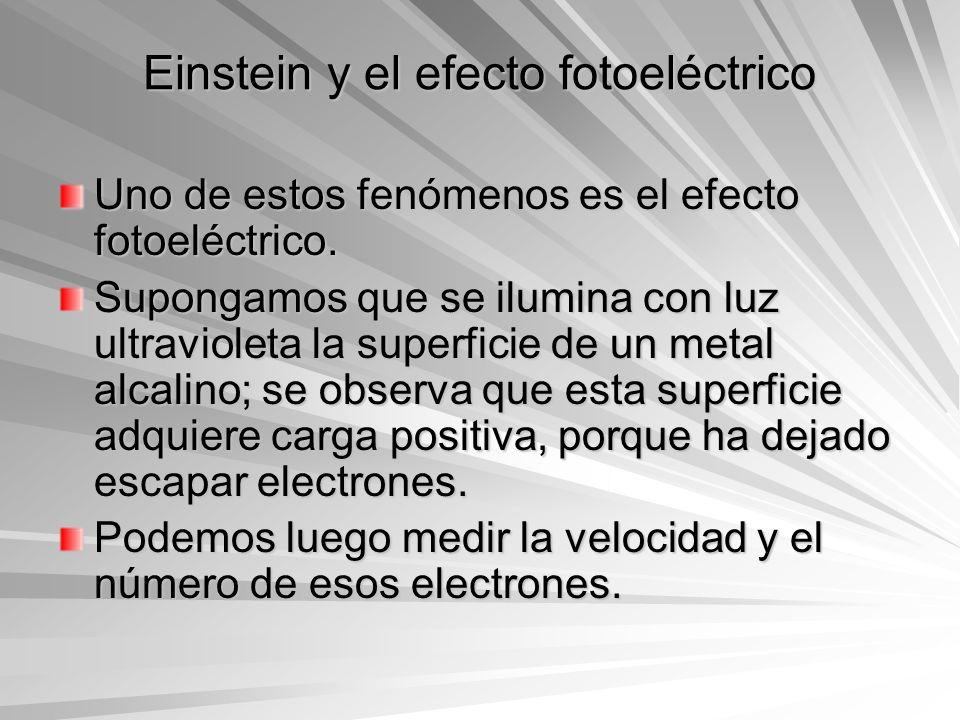 Einstein y el efecto fotoeléctrico Uno de estos fenómenos es el efecto fotoeléctrico. Supongamos que se ilumina con luz ultravioleta la superficie de