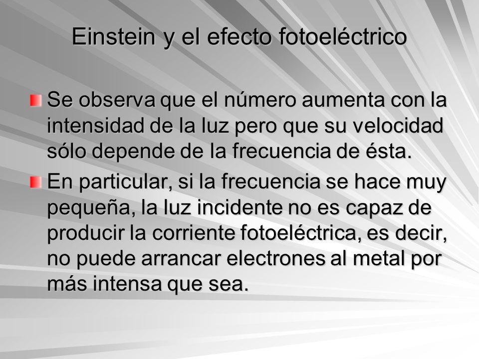 Einstein y el efecto fotoeléctrico Se observa que el número aumenta con la intensidad de la luz pero que su velocidad sólo depende de la frecuencia de