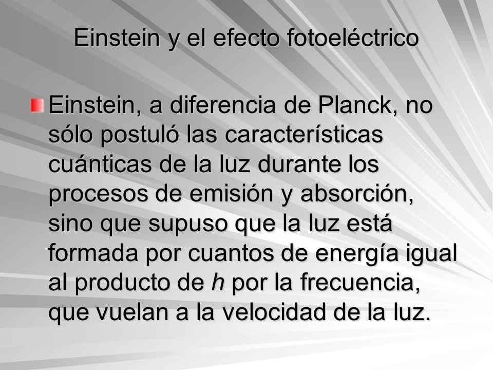 Einstein y el efecto fotoeléctrico Einstein, a diferencia de Planck, no sólo postuló las características cuánticas de la luz durante los procesos de e