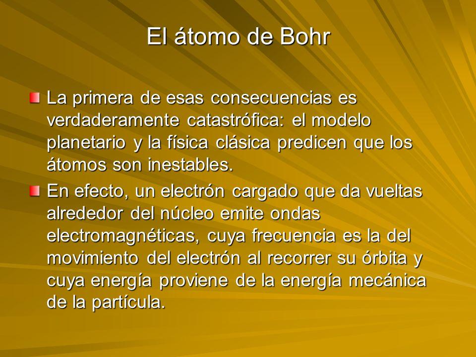 El átomo de Bohr La primera de esas consecuencias es verdaderamente catastrófica: el modelo planetario y la física clásica predicen que los átomos son