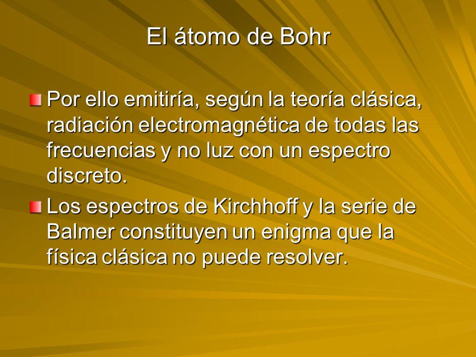 El átomo de Bohr Por ello emitiría, según la teoría clásica, radiación electromagnética de todas las frecuencias y no luz con un espectro discreto. Lo