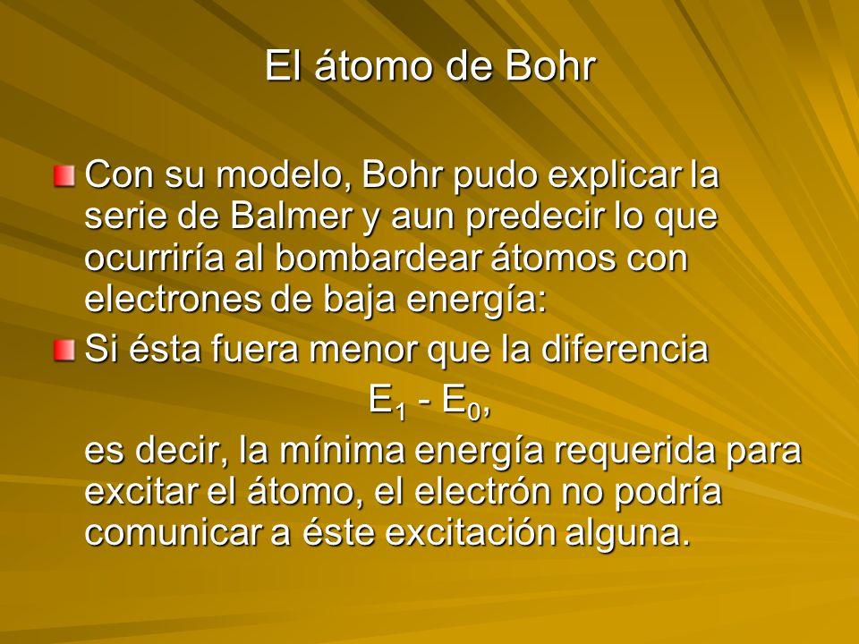 El átomo de Bohr Con su modelo, Bohr pudo explicar la serie de Balmer y aun predecir lo que ocurriría al bombardear átomos con electrones de baja ener