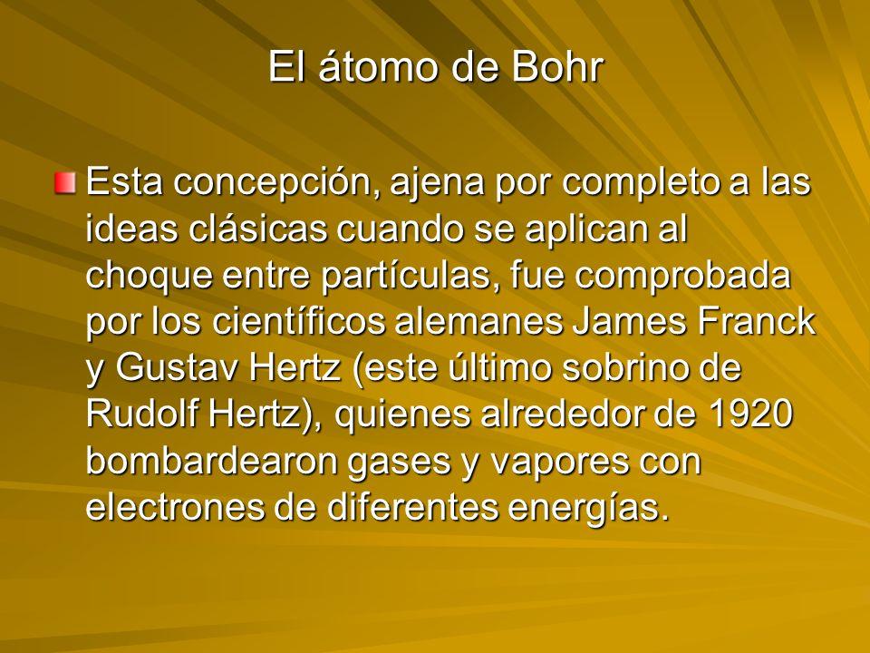 El átomo de Bohr Esta concepción, ajena por completo a las ideas clásicas cuando se aplican al choque entre partículas, fue comprobada por los científ