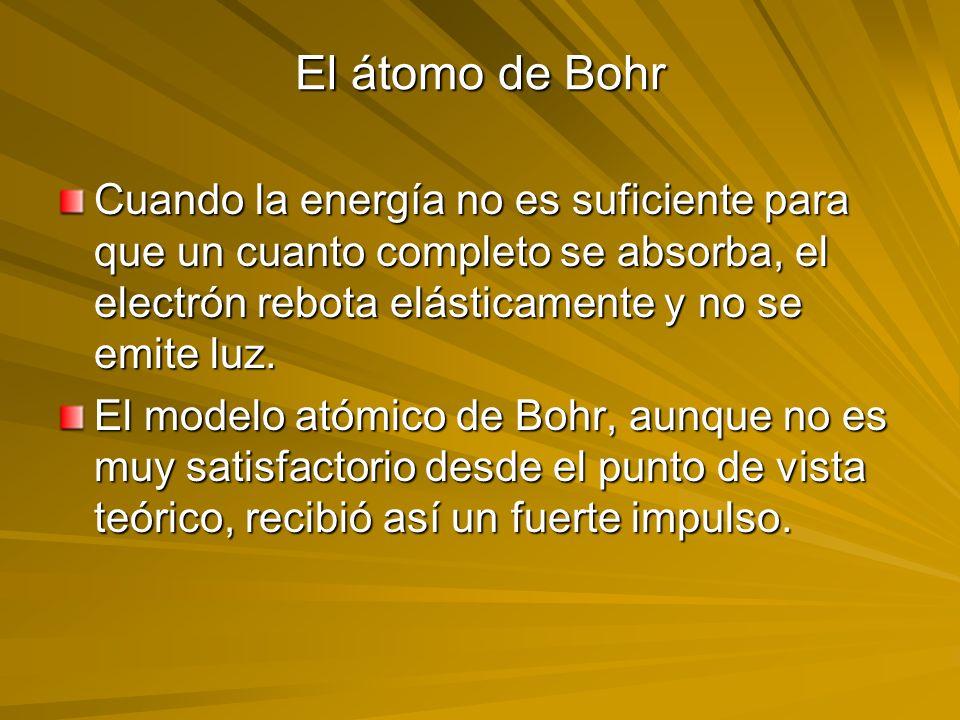 El átomo de Bohr Cuando la energía no es suficiente para que un cuanto completo se absorba, el electrón rebota elásticamente y no se emite luz. El mod
