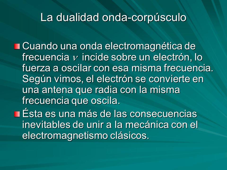 La dualidad onda-corpúsculo Cuando una onda electromagnética de frecuencia incide sobre un electrón, lo fuerza a oscilar con esa misma frecuencia. Seg