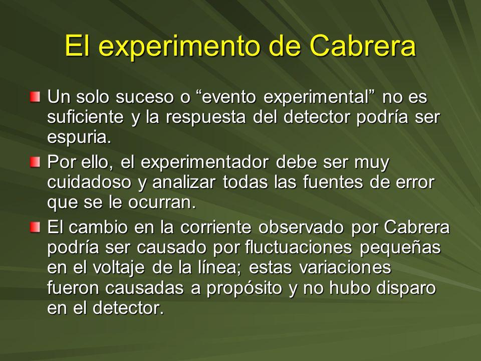 El experimento de Cabrera Un solo suceso o evento experimental no es suficiente y la respuesta del detector podría ser espuria. Por ello, el experimen
