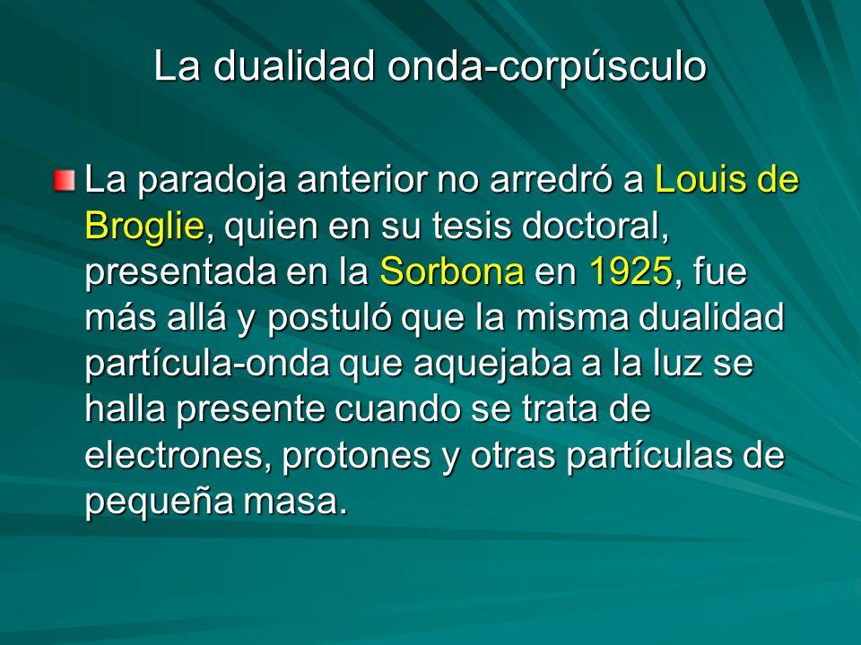 La dualidad onda-corpúsculo La paradoja anterior no arredró a Louis de Broglie, quien en su tesis doctoral, presentada en la Sorbona en 1925, fue más