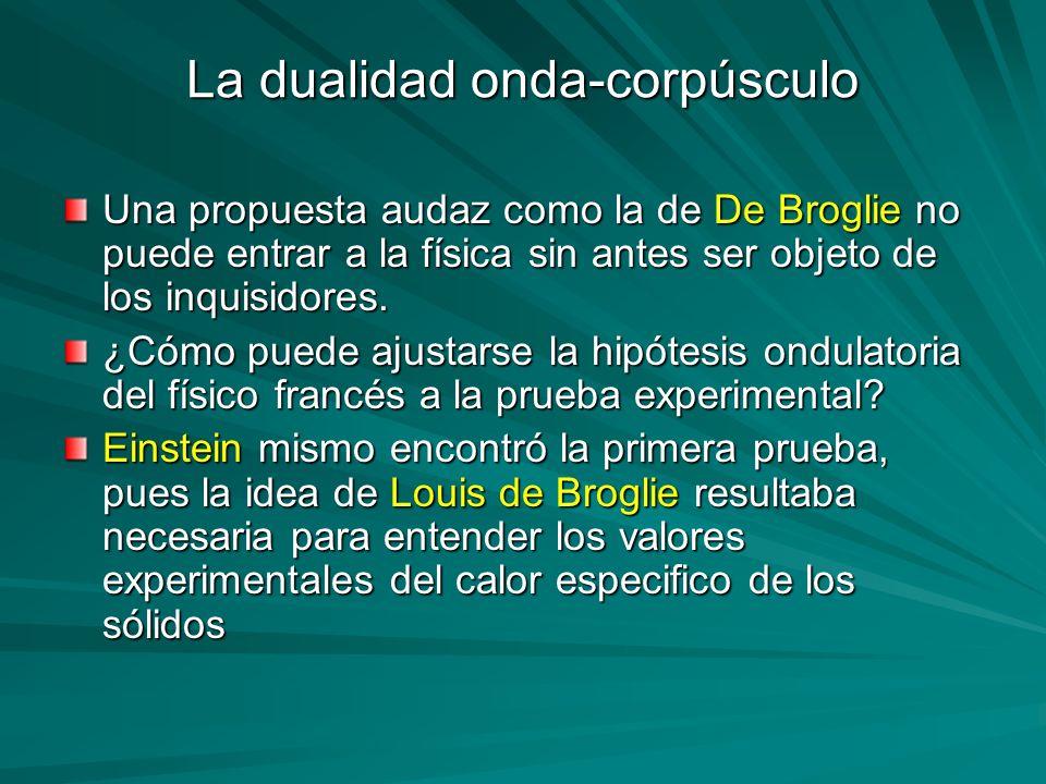 La dualidad onda-corpúsculo Una propuesta audaz como la de De Broglie no puede entrar a la física sin antes ser objeto de los inquisidores. ¿Cómo pued