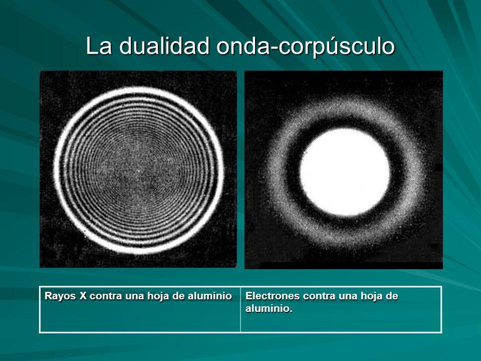 La dualidad onda-corpúsculo Rayos X contra una hoja de aluminio Electrones contra una hoja de aluminio.