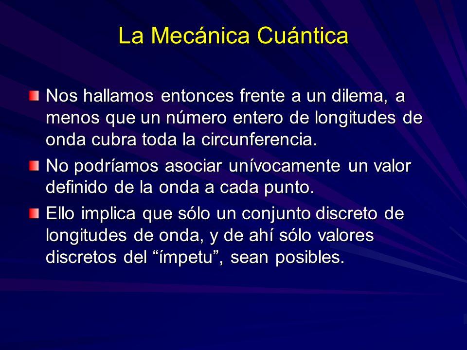 La Mecánica Cuántica Nos hallamos entonces frente a un dilema, a menos que un número entero de longitudes de onda cubra toda la circunferencia. No pod