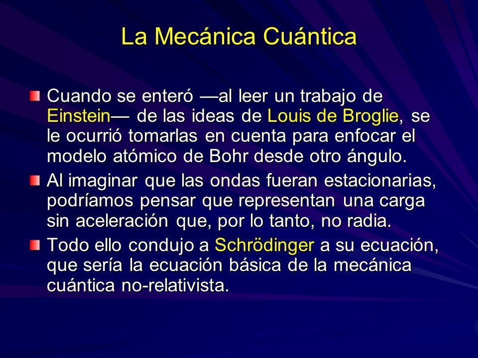 La Mecánica Cuántica Cuando se enteró al leer un trabajo de Einstein de las ideas de Louis de Broglie, se le ocurrió tomarlas en cuenta para enfocar e