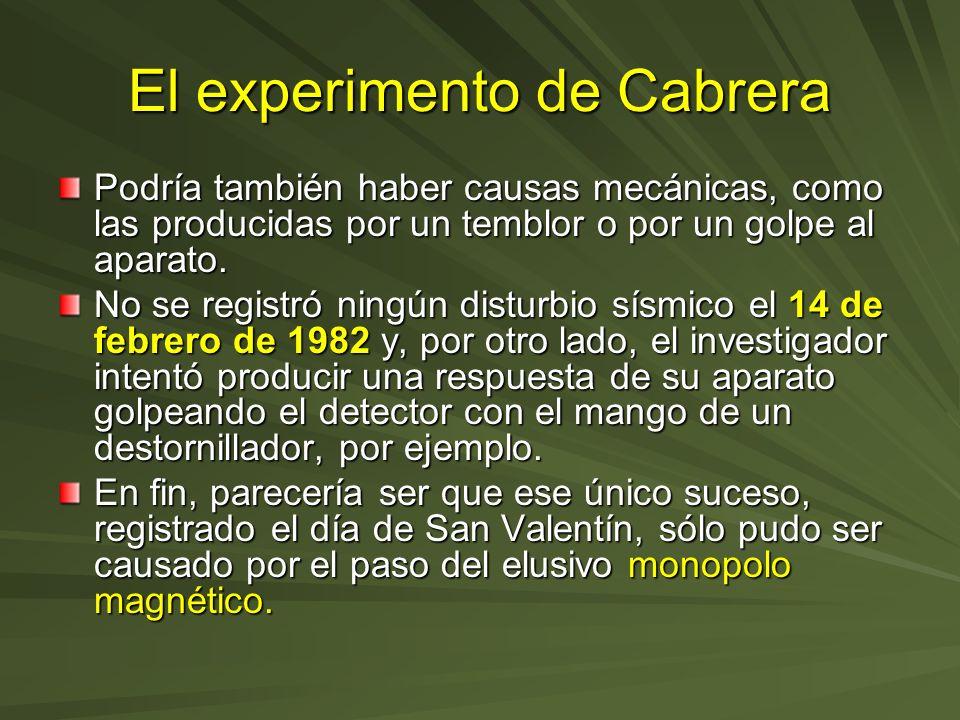 El experimento de Cabrera Podría también haber causas mecánicas, como las producidas por un temblor o por un golpe al aparato. No se registró ningún d