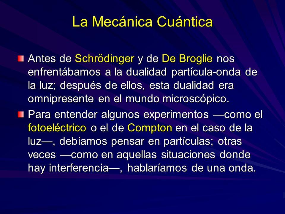 La Mecánica Cuántica Antes de Schrödinger y de De Broglie nos enfrentábamos a la dualidad partícula-onda de la luz; después de ellos, esta dualidad er