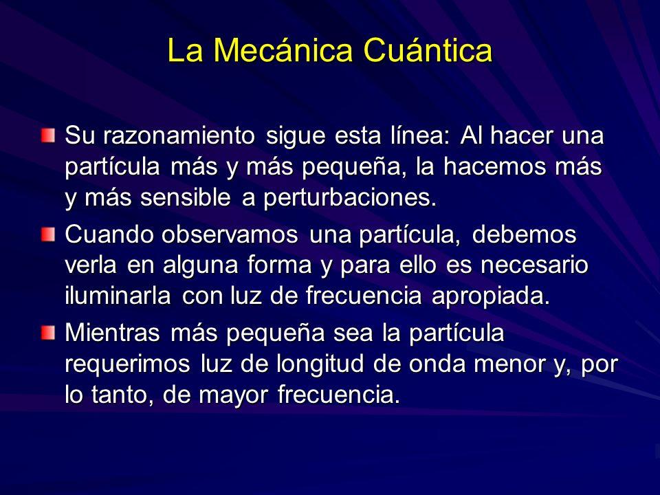 La Mecánica Cuántica Su razonamiento sigue esta línea: Al hacer una partícula más y más pequeña, la hacemos más y más sensible a perturbaciones. Cuand