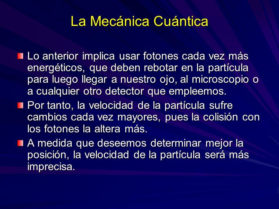 La Mecánica Cuántica Lo anterior implica usar fotones cada vez más energéticos, que deben rebotar en la partícula para luego llegar a nuestro ojo, al