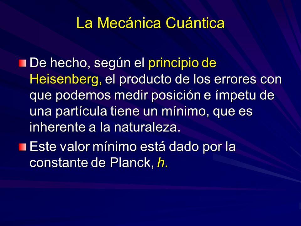 La Mecánica Cuántica De hecho, según el principio de Heisenberg, el producto de los errores con que podemos medir posición e ímpetu de una partícula t
