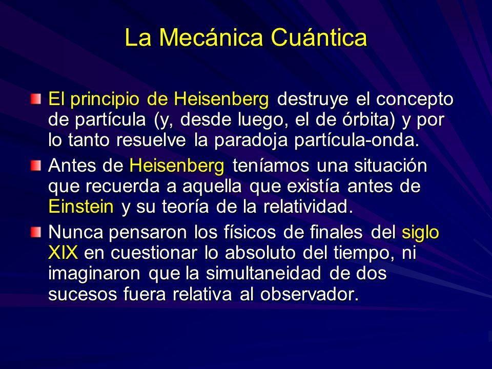 La Mecánica Cuántica El principio de Heisenberg destruye el concepto de partícula (y, desde luego, el de órbita) y por lo tanto resuelve la paradoja p