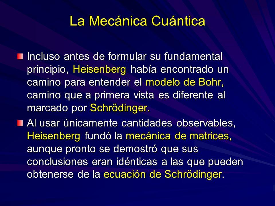 La Mecánica Cuántica Incluso antes de formular su fundamental principio, Heisenberg había encontrado un camino para entender el modelo de Bohr, camino